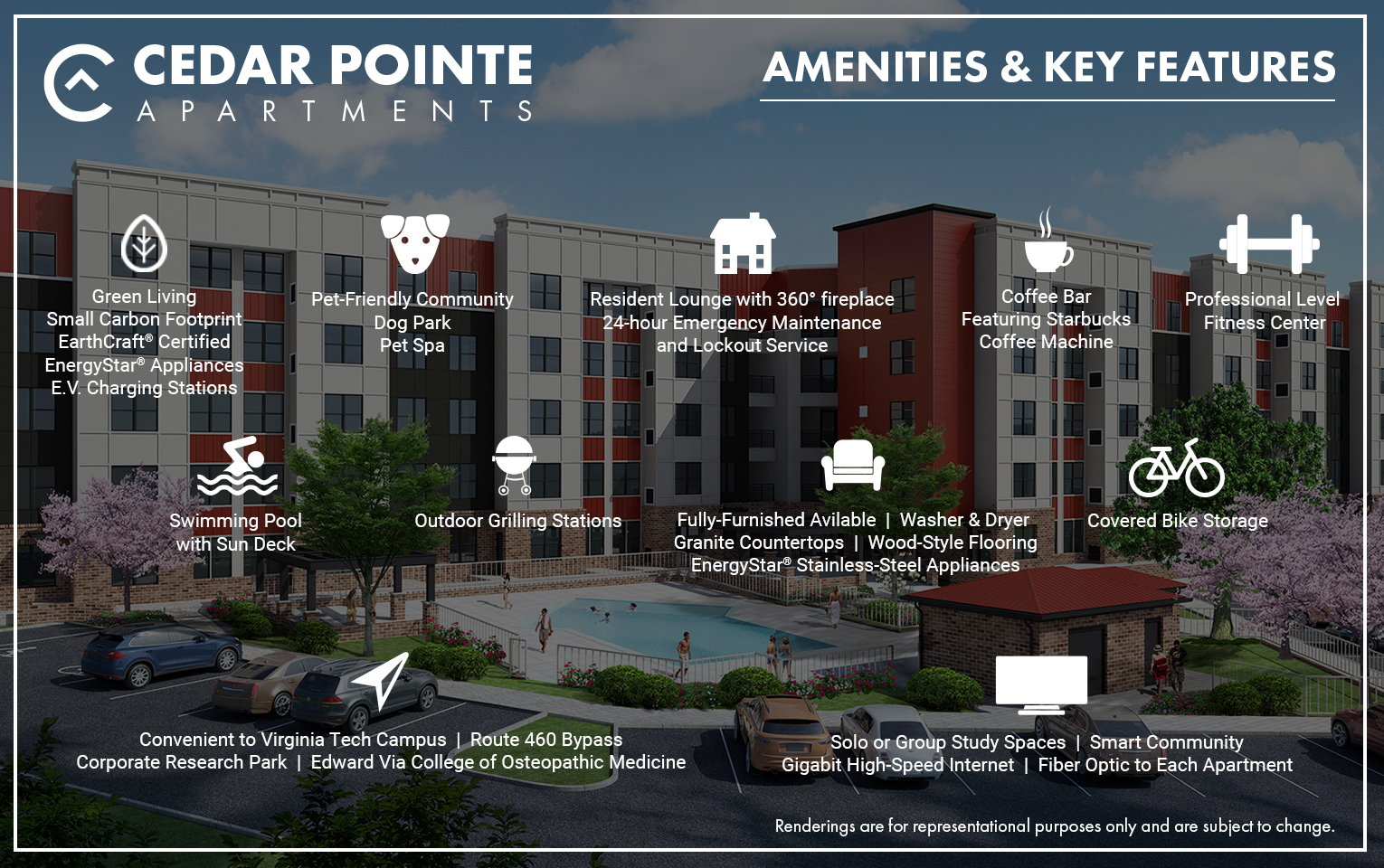 Cedar Pointe Amenity Icon Graphic
